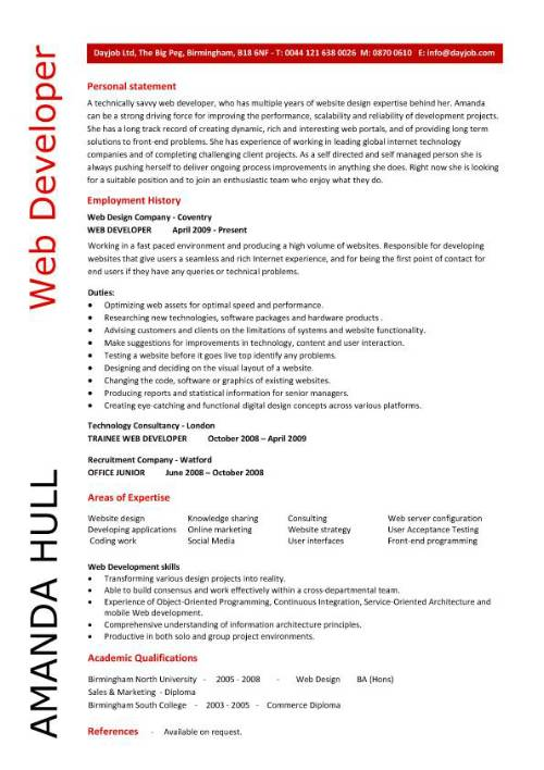 web design resume example   Mini.mfagency.co