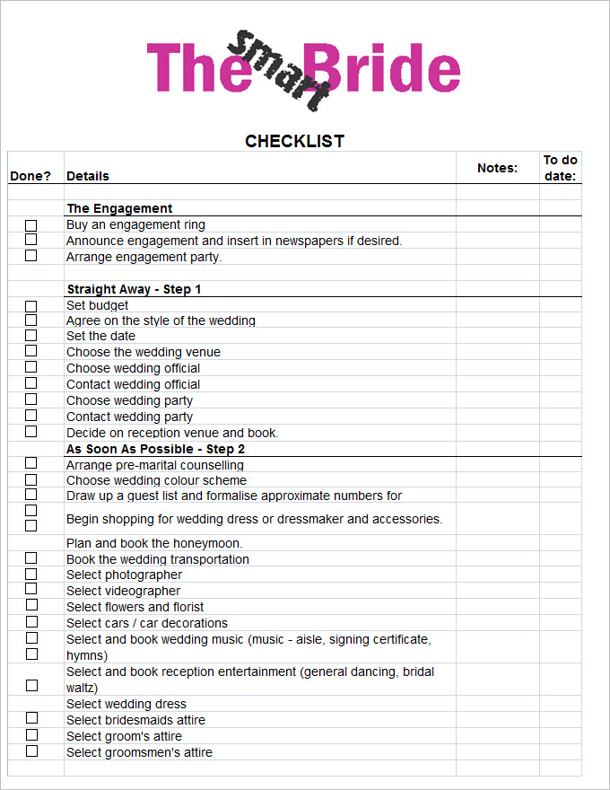 wedding planning list template   Ecza.solinf.co