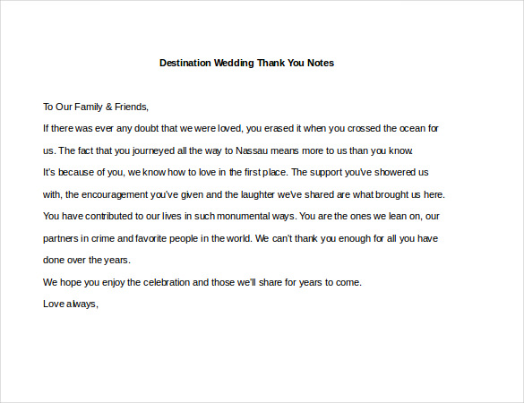 Wedding Thank You Note – 6+ Free Word, Excel, PDF Format Download
