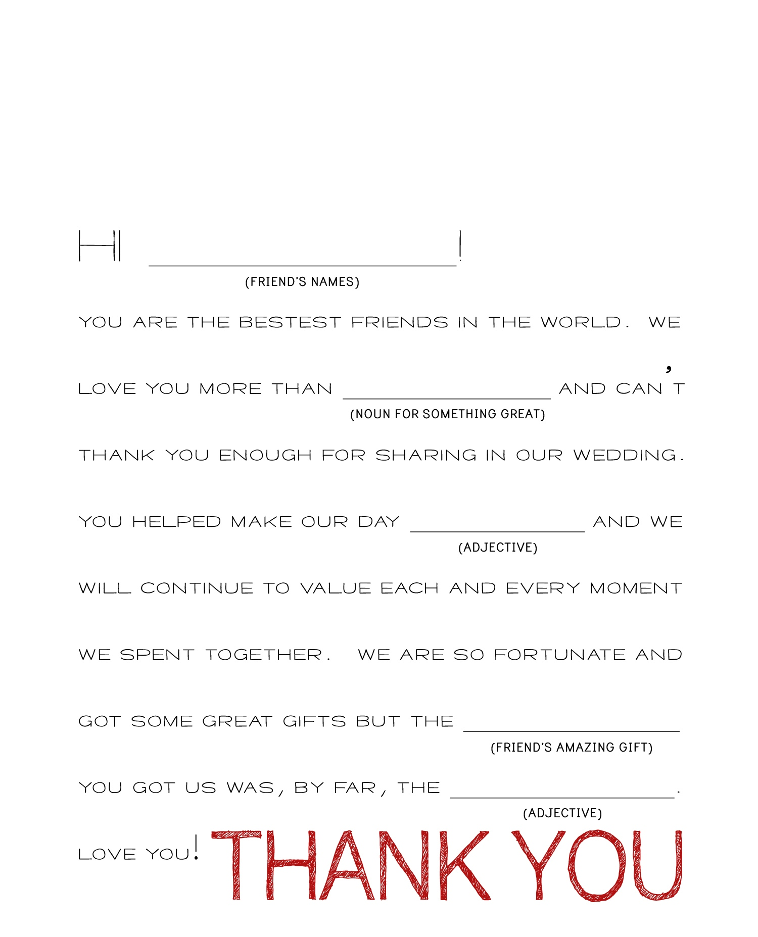 Thank You Wording For Wedding Gifts: Wedding Thank You Note Templates