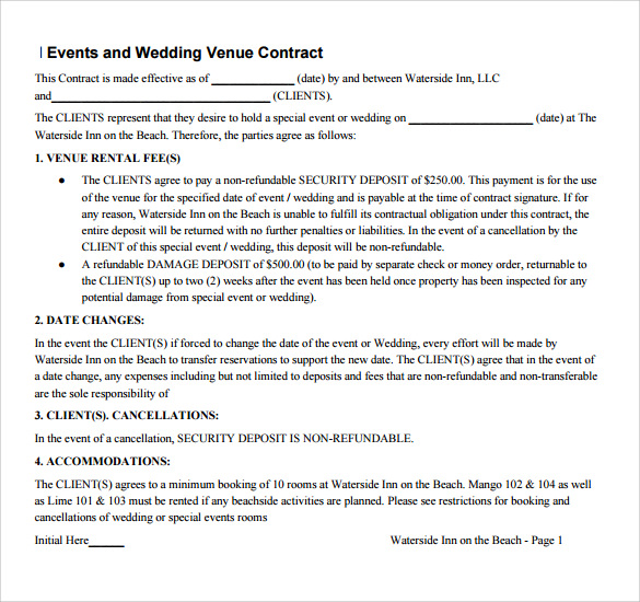 Venue Contract Template   Venue Rental Contract Agreement (with