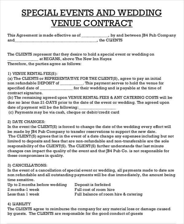 Wedding venue contract template – emmamcintyrephotography. Com.