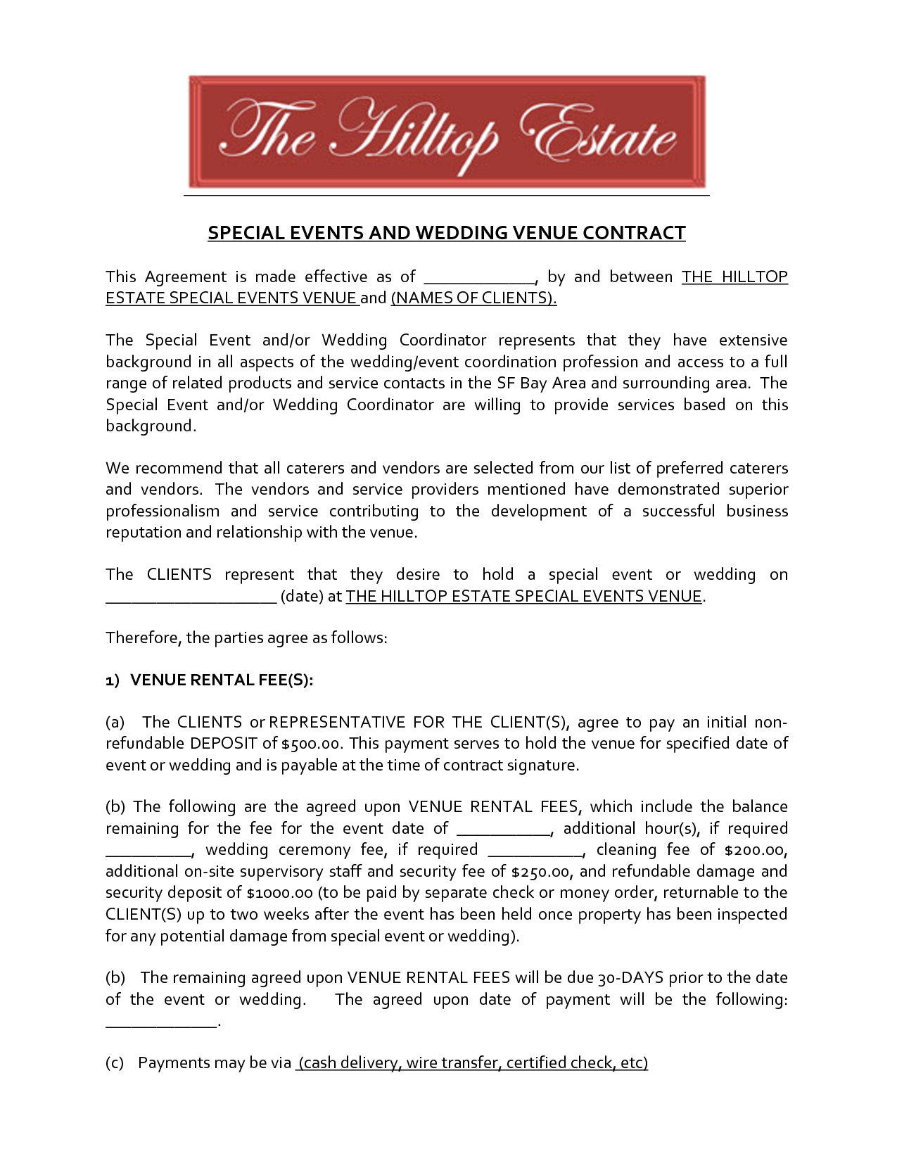 Marriage Ceremony Venue Contract Template