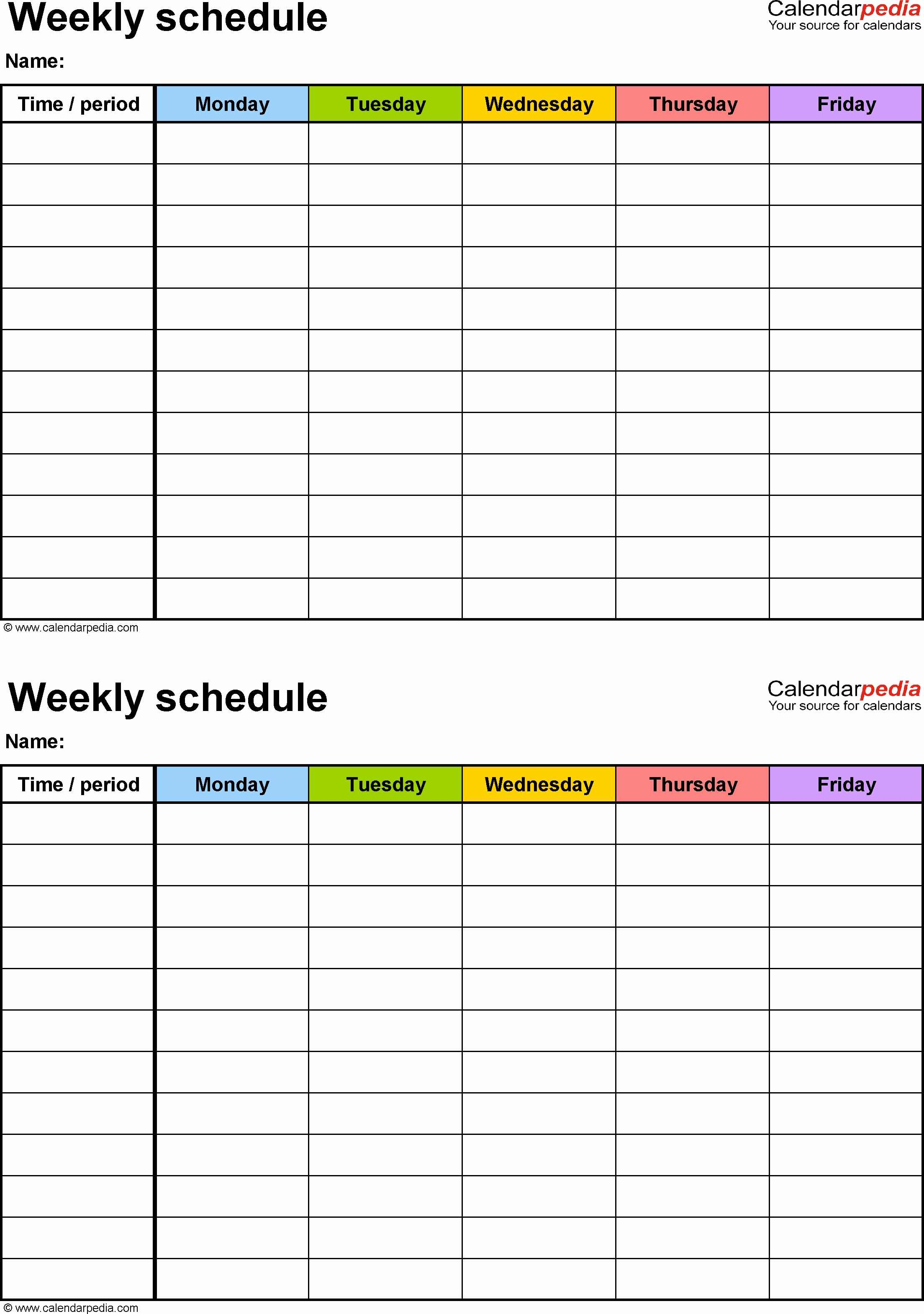 Weekly employee shift schedule