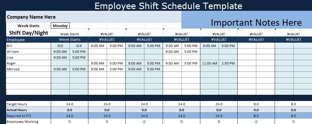 weekly employee shift schedule template excel. Black Bedroom Furniture Sets. Home Design Ideas