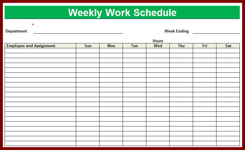 Employee Schedule Template in Excel and Word Format | Hubworks