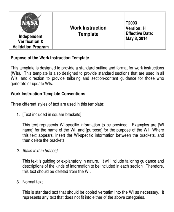 work instruction template word   Maggi.locustdesign.co