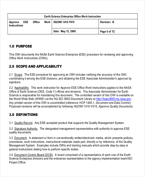 9+ Work Instruction Templates   Free Sample, Example Format | Free