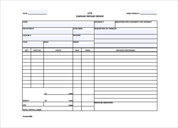 Work Order Template   23+ Free Word, Excel, PDF Document Download