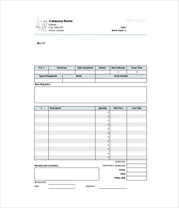 Contractor Work Order Form Template   OnsiteSnap