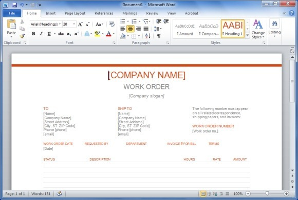 Work Orders | Free Work Order Form Template for Excel